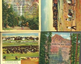 Vintage Lot of Four Cowboy/ Western Postcards Linen 1940's Unused