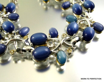 ON SALE Blue Moonglow Thermoset VIntage Bracelet with Rhinestones