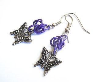 Butterfly earrings, Purple and silver chainmaille jewelry