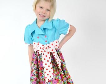 Girls Dress, Girls Dresses, Girls Clothing, Toddler Dresses, Little Girls Dresses, Blue dress, Polka Dot, Size 2T 3 4 5 6 8 10