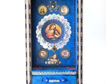Mixed Media Original Assemblage Religious Shrine Folk Art Box