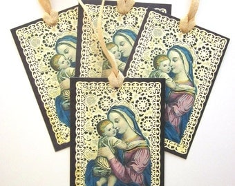 Handmade Gift Tag Paper Lace French Holy Card Religious Gift Tag