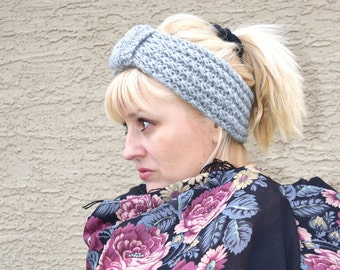 SALE 25% off headband knit wool acrylic grey Christmas gift for her