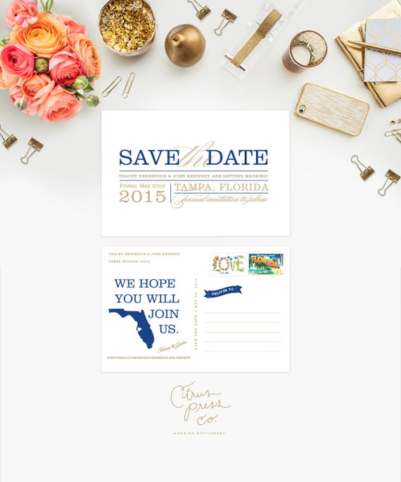 Wedding Save the Date US State - Block Text Words Type, FL, Florida, Destination wedding, Custom State