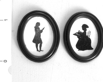 2  GEORGIAN Dolls house SILHOUETTES Handmade miniature PICTURES 12th scale