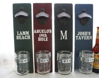 Wall Mount Bottle Opener Custom with Mason Jar Cap Catcher--painted solid wood Man's Father's Day gift