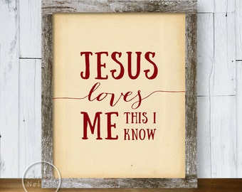 Jesus Loves Me Red Christian Art - 8x10 Printable