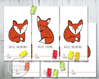 Fox Valentine Card Printable - Kids Friends 6 per page