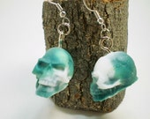 Acrylic Skull Earrings - Green and White - Hand Poured - 3rd
