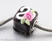 Chocolate Rose Large Hole Bead, SRA Handmade Lampwork Glass, Charrm Bracelet Jewelry, Valentines Day
