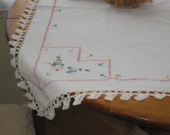 Vintage Embroidered Tablecloth, Embroidered Flower Table Cover, White Cotton, Colorful Tiny Flowers