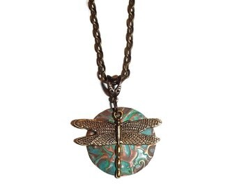 Brass Dragonfly Patina Disc Necklace. Dragonfly Jewelry. Verdigris Disc.