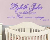 Childrens Wall Decals MONOGRAM For this child I prayed Children Wall Decal Childrens EXTRA Large
