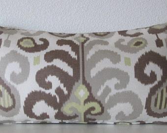 Pillow Cover - Ikat - Natural - Brown - Taupe - 12x24 - Decorative - Lumbar - Cushion Cover