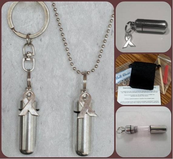 Cancer Awareness  2pc. Special Set - Cremation Urn Necklace & Keychain Urn and Velvet Pouches