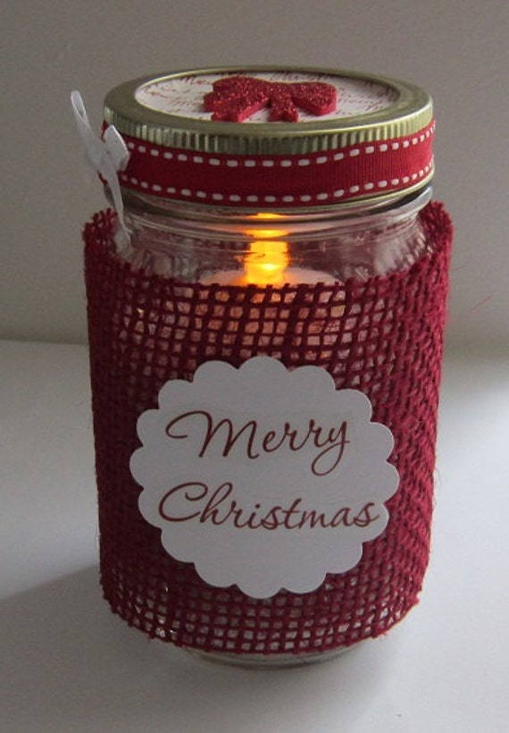 christmas mason jar tea light candle. Black Bedroom Furniture Sets. Home Design Ideas