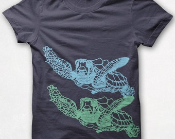 Womens Tshirt, Sea Turtle, Fitted Shirt, Graphic Tee, Screenprinted - Asphalt,