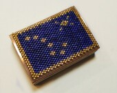Beadwork Matchbox cover holder beaded copper sleeve for Fathers Day,  Alaska State Flag Big Dipper in Navy blue and gold plate seed bead