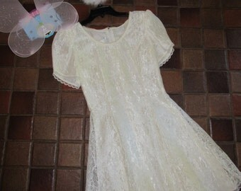 Costume angel tooth fairy Halloween ivory lace dress wings halo womens sz 5/6