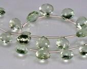 SALE-Green Amethyst Briolettes AAA Green Amethyst  Beads