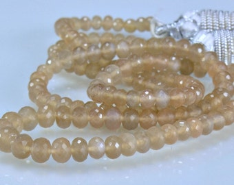 SALE-AAA Coffee Moonstone Rondelles Micro Faceted   Gemstone Beads,  3-5mm, 8 inches