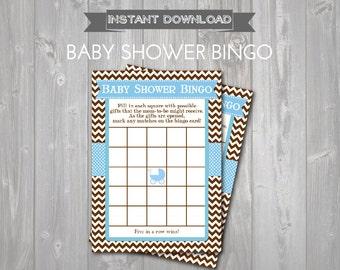 BABY SHOWER BINGO Game Cards - Printable Baby Shower Bingo Cards - Baby Shower Games - Blue & Brown Carriage Theme - Bingo Instant Download