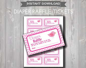 DIAPER RAFFLE TICKETS - Printable Baby Shower Raffle Tickets - Hot Pink & Light Pink Bird Baby Shower - Instant Download - Printable Tickets