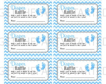 DIAPER RAFFLE TICKETS - Printable Baby Shower Raffle Tickets - Grey & Blue Baby Feet Baby Shower - Instant Download - Printable Tickets