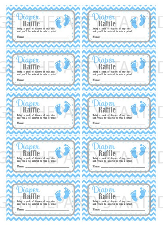 DIAPER RAFFLE TICKETS - Printable Baby Shower Raffle Tickets ...