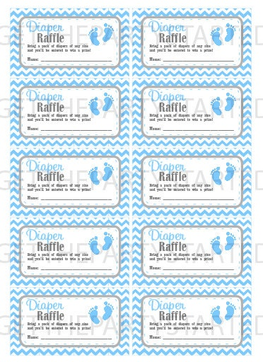 DIAPER RAFFLE TICKETS Printable Baby Shower Raffle Tickets