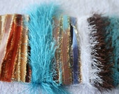 ice yarns SAMPLES fiber art bundle cards brown santana blue white eyelash evelina fun fur knitting crochet scrap supplies hobby DIY