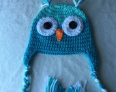 toddler 3-6 months owl hat blue boy girl unisex handmade gift idea for children kids babies christmas bird animal character