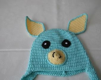 0-3 months baby boy or girl little piggy hat handmade gift idea newborn shower welcome new baby animal character beanie cap