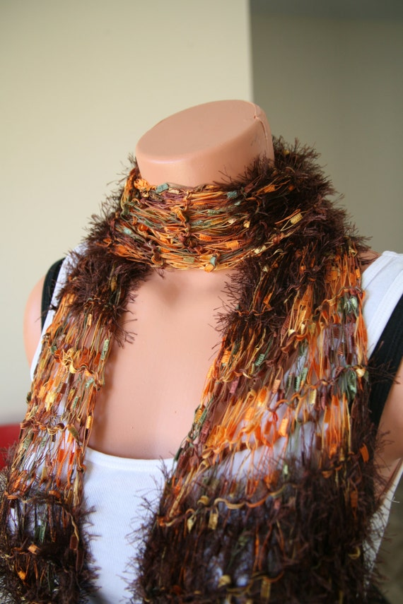 free shipping knitted novelty scarf brown ladder