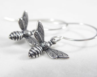 Bee Earrings- Bee- Bee Jewelry- Honey Bee- Minimal Silver Earrings- Minimal Jewelry- Luna Jewelry