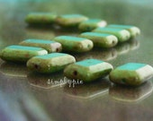 Sale! Turquoise Picasso Rectangle Glass Beads 12mm 12 Window Cut