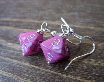 Miniature D8 pink black dice earrings mini dice earring dice jewelry pathfinder dungeons and dragons mini die jewellery polyhedral dice