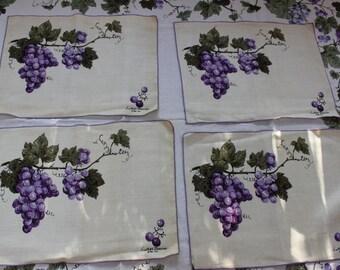 Luther Travis Grape Arbor Linen 4 Placemats Fallani & Cohn Designer Purple VINTAGE by Plantdreaming