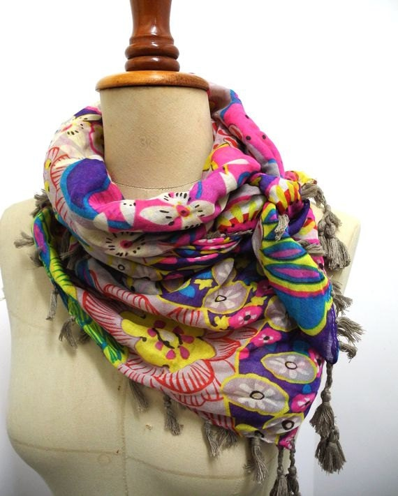 Square Scarf  with tassel Flower print Boho scarf  Holiday shawl Cotton boho tassel scarf
