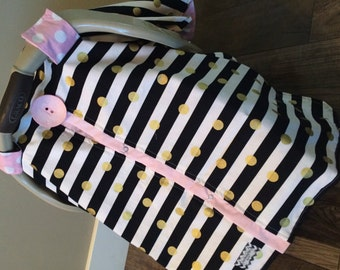 Carseat Canopy Carseat Cover Black Gold and Light Pink STUNNING / car seat cover / nursing cover / carseat canopy / carseat cover