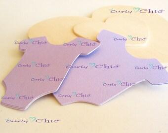 "36 Baby Onesie Tags Size 4"" -Baby Bodysuits tags -Paper Baby shirt die cuts -Cardstock Baby shower die cuts -Custom Bodysuit labels"