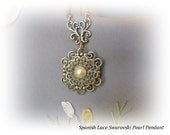 holiday sale lovely gift wedding party jewelry swarovski lustrous pearls silver filigree victorian pendant Vintage inspired