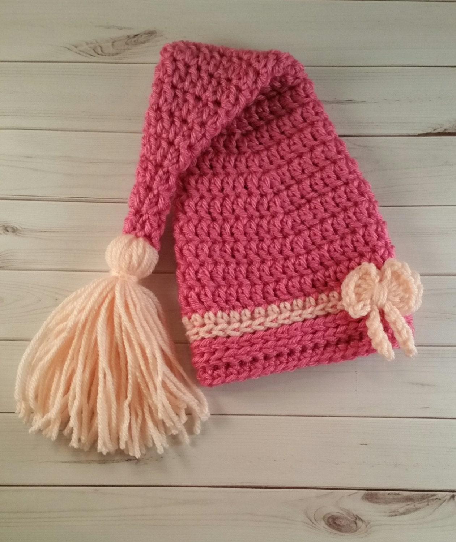 Crochet Newborn Stocking Hat Pattern : Newborn Elf Hat Stocking Cap Crochet Stocking Photo Prop Baby