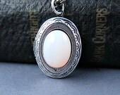 Glass Opal Locket Opal Necklace Antique Silver Locket Opal Pendant Personalized Jewelry Wedding Gift
