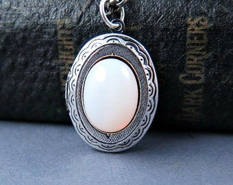 Glass Opal Locket Opal Necklace Antique Silver Locket Opal Pendant Personalized Jewelry