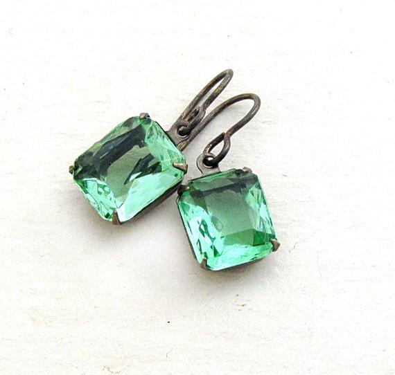 Green Rhinestone Earrings, Green Earrings, Vintage Rhinestone Earrings, Christmas Gift, Gift for Her