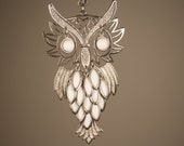 Large Movable Owl Necklace, Chunky Silver Necklace, Milk Glass Owl Pendant, Articulated Owl