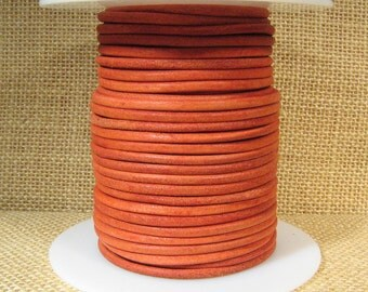 3mm Round Suede Cord - Orange - 3MRS-15 - Choose Your Length