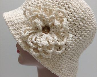Medium Ivory Cotton Hat, Sunhat, Chemo Hat, Brimmed hat, Winter Hat, Womens Accessories