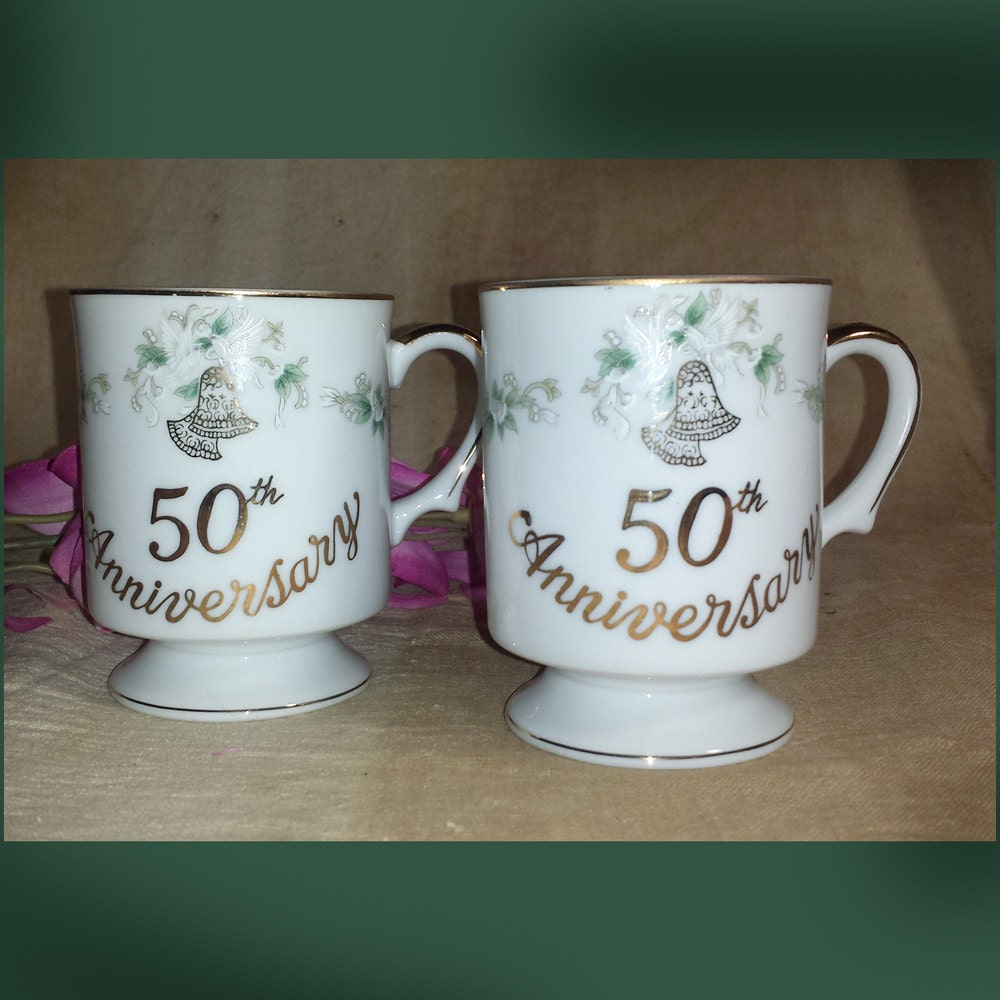 Set Of 2 Vintage Lefton 50th Golden Anniversary Footed Mugs